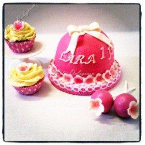 Meptaartje met cupcakes en cakepops