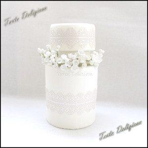 Bruidstaart bloemenkrans dubble barrel