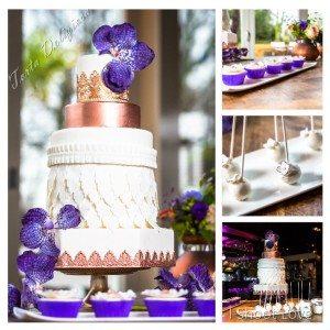Bruidstaart Koper en paarse orchideeën