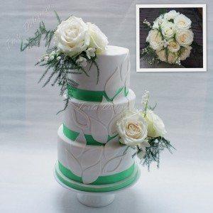 Bruidstaart teardrops met verse bloemen