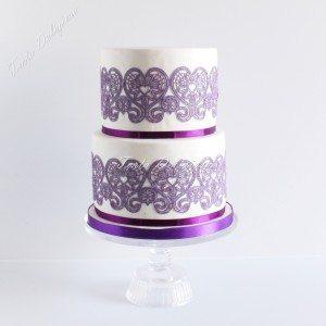 Bruidstaart 1001 nacht paars eetbaar kant