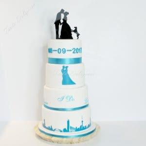 Bruidstaart silhouette en skyline Rotterdam