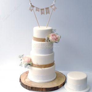 Bruidstaart Halal met Burlap en Lace Met gluten vrij en lactose vrij taart