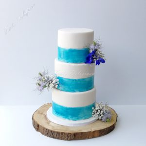 aqua marine water colour wedding cake