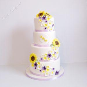 Sunflower weddingcake Zonnenbloemen bruidstaart